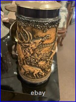 Vintage GERZ German Lidded BEER STEIN, Hunting Theme, Fox Handle
