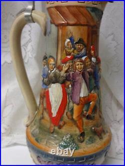 Vintage GERZ Limited Edition Signed German Pewter Lidded Large Beer Stein Mug