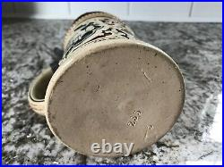 Vintage German Beer Stein Ceramic Earthenware with Pewter Lid