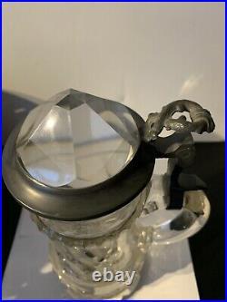 Vintage German Glass Beer Stein Jeweled Lid Pedestal Base Awesome