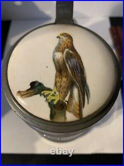 Vintage German Glass Beer Stein Porcelain Lid Osprey Or Red Tailed Hawk