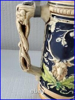 Vintage German Porcelain Lidded Beer Stein Germany Deer Hunting 11'' T