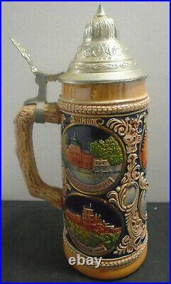 Vintage Gerz German Cities Pewter Lidded Beer Stein Hand Painted 9 7/8