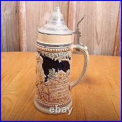 Vintage Lidded Beer Stein German Made In Germany Deslebenist Froher Sinn