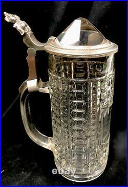 Vintage Prism Lid German Beer Stein With Pewter Handle. 5 Liter