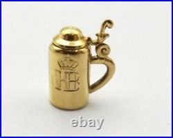 Vtg 8K Gold German Stein Pendant Charm Lid Opens Estate Souvenir Beer Pill Box